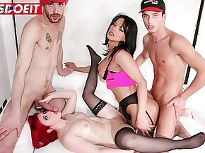 LETSDOEIT - Two Amateur Studs Share a Girl And a Tranny in Bed